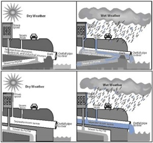 This figure shows representations of combined sewers and separate sewers